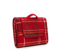 Picknick Decke mit Thermorückseite, wasserdicht, Rot karriert, Größe: 150x200 cm