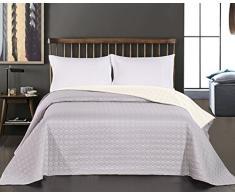 DecoKing Premium 11829 Tagesdecke 220 x 240 cm Ecru Silber Bettüberwurf Kreisen zweiseitig pflegeleicht Salice