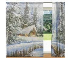 alaza Winter-Landschaftsmalerei Weihnachten Printed Sheer Fenster und Tür-Vorhang 2 Panels 55 x 84, Rod Pocket-Panels