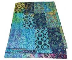 Indische handgefertigte Patchwork-Decke aus 100 % Baumwolle Kantha-Quilt-Design von Gudari Kantha Decke Gudari Tagesdecke Vintage Tagesdecke Batik-Druck 228,6 x 152,4 cm ...