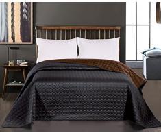 DecoKing 11973 Tagesdecke 170 x 210 cm schwarz schoko braun Bettüberwurf Kreisen zweiseitig pflegeleicht Salice