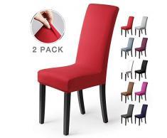 Stuhlhussen 2 Stück, Stretch-Stuhlbezug elastische moderne Husse Elasthan Stretchhusse Stuhlbezug Stuhlüberzug . bi-elastic Spannbezug, sehr pflegeleicht und langlebig Universal (2 Stück,Rot)