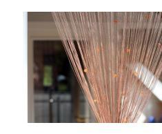 1001 Wohntraum F03 Fadenstore, 100 x 200 cm, Fadengardine Glitzer, Fadenvorhang, Raumteiler, Gardinen, cappuccino braun mit Perlen
