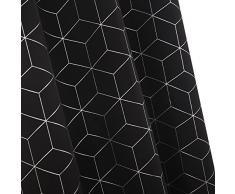 Deconovo Verdunklungsvorhang Ösen Vorhang Blickdicht Gardinen Muster 138x117 cm Schwarz 2er Set