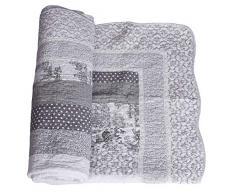 Patchwork Decke Landhausstil Steppdecke Dots Wohndecke Quilt kdm016 Palazzo Exklusiv