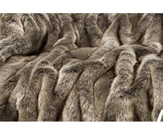 Felldecke aus Webpelz, Hundedecke Wolf grau-braun 60x90cm