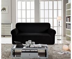 Ebeta Elastisch Sofa Überwürfe Sofabezug, Stretch Sofahusse Sofa Abdeckung Hussen für Sofa, Couch, Sessel 3 Sitzer (Schwarz, 185-235 cm)