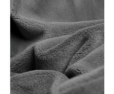 CelinaTex Quebec Kuscheldecke 150 x 200 cm grau Coral Fleece Tagesdecke Mikrofaser Sofadecke federleicht
