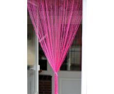 1001 Wohntraum F07 Fadenstore, 100 x 200 cm, Fadengardine Glitzer, Fadenvorhang, Raumteiler, Gardinen, rosa glänzend