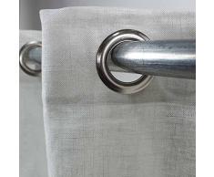 MonbeauRideau Comete Baumwolle und Leinen Vorhang 140 x 250 Uni – Weiß Stil: United