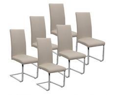 BEAUTEX Jersey Stuhlhussen Sets, elastische Stretch Husse Baumwolle Bi-Elastic, Farbe wählbar (Beige 6er Set)