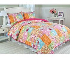 1001 Wohntraum 17JN30 Quilt Rosalie Blumen, 180 x 220 cm, Plaid Tagesdecke, Patchwork Vintage Landhaus Shabby Decke, bunt