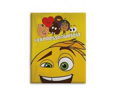 Emoji Fleecedecke, Licence, Polyester, Mehrfarbig, 140 x 110 cm