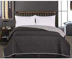 DecoKing 77146 Tagesdecke 220 x 240 schwarz stahl silber anthrazit grau Bettüberwurf zweiseitig Steppung black silver Axel