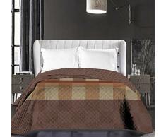 DecoKing 86544 Tagesdecke 220 x 240 cm schoko braun beige Bettüberwurf zweiseitig pflegeleicht Kariert chocolate brown Hypnosis Collection Arthur
