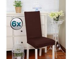 Stuhlhussen 6 Stück, Stretch-Stuhlbezug elastische moderne Husse Elasthan Stretchhusse Stuhlbezug Stuhlüberzug . bi-elastic Spannbezug, sehr pflegeleicht und langlebig Universal(Packung von 6,Braun)