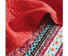 Qucover Tagesdecke Boho 230x250 cm, Bunte Überwurf für Bett, Gesteppte Sommerdecke aus Baumwolle, Patchwork Stil, mit Kissenbezug inklusive