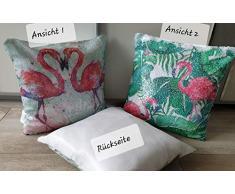 KK Flamingo Dekokissen Verwandlungs-Kissen mit Pailletten 40 x 40 cm