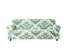 subrtex Sofabezug mit Muster Blumen Stretch Sofahusse Elastisch Sesselhusse mit Armlehne Couch überzug Abwaschbar (3 Sitzer, Grün)