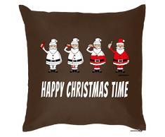 Weihnachten lustige Deko Kissen mit Innenkissen - GLÜHWEIN WEIHNACHTSMANN Xmas Advent Geschenk Idee 40x40cm braun : )