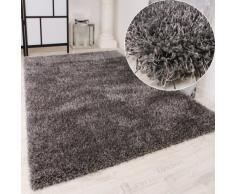 Shaggy Teppich Hochflor Langflor leicht Meliert Qualitativ u. Preiswert Uni Grau, Grösse:65x135 cm
