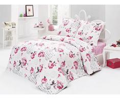 Bettwäsche 200x220 Baumwolle Bettgarnitur mit Reißverschluss 3 teilig L-7833