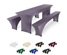 SCHEFFLER-Home Bierzeltgarnitur Hussen Stretch 3tlg. Set, für Tisch 50x220cm und Bänke, elastische Abdeckung, Shark
