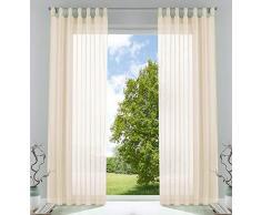 2er-Pack Gardinen Transparent Vorhang Set Wohnzimmer Voile Schlaufenschal mit Bleibandabschluß HxB 245x140 cm Creme, 61000CN