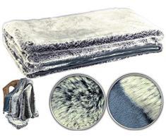 Wilson Gabor Webpelz Decke: Hochwertige Pelzimitat-Decke in Blaufuchsfell-Optik, 200 x 150 cm (Felldecken)
