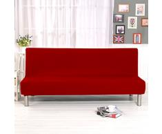 Cornasee Sofabezug 3 sitzer ohne armlehne - Clic Clac Sofahusse Stretch Bettcouch Schonbezug Einfarbig,Rot
