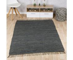 Taracarpet Flachweb-Baumwollteppich handgewebter handweb-Teppich Fleckerl Amrum aus 100% Baumwolle -auch bekannt als Dhurry oder Flickenteppich Uni anthrazit 160x230 cm