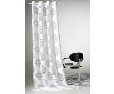 Gardine puristisch moderner Ösenschal HxB 245x140 cm chic in strahlendem weiß mit abstrakten Ausbrenner-Kreisen - Dekoschal mit sehr schönem Fall - Vorhang in geprüfter Top Qualität...auspacken, aufhängen, fertig! Typ198