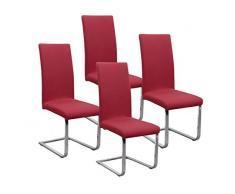 BEAUTEX Jersey Stuhlhussen Sets, elastische Stretch Husse Baumwolle Bi-Elastic, Farbe wählbar (Bordeaux 4er Set)