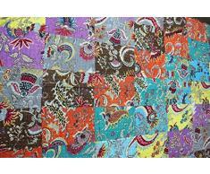 Patchwork Tagesdecke 100% Baumwolle indischen Kantha Quilt reversibel, Größe 152,4 x 228,6 cm Zoll ca.