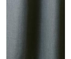 enzo enrico 000.005 Verdunkelungsvorhang mit Leinenstruktur, 145 x 255 cm, grau