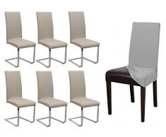BEAUTEX 6er Set Jersey Stuhlhusse, elastische Stretch Husse Baumwolle Bi-Elastic, Farbe wählbar (Beige)