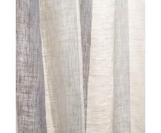URBANARA Vorhang Formosa – 100% reiner Leinen, Natur/Hellblau/Blau gestreift mit Schlaufen – 140 x 245 cm, einzelner Schal