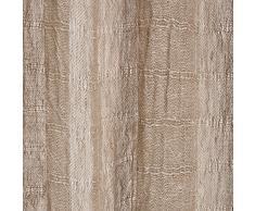URBANARA Vorhang Zalavas – 100% reiner Leinen, Natur/Weiß gestreift mit Tunnelzug – 140 x 245 cm, einzelner Schal