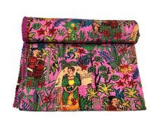 GANESHAM Indische Hippie handgefertigte Zigeuner-Sofa-Decken Vintage Patchwork 100% Baumwolle Home Decor Kantha Steppdecke Tagesdecke (Doppel)