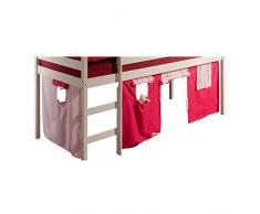 IDIMEX Spielvorhang Erik Bettvorhang Vorhang zu Hochbett Rutschbett Kinderbett in pink/rosa