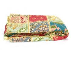 1001 Wohntraum T316 Quilt L, Orient Barock, 180 x 220 cm, Vintage Plaid Tagesdecke, Patchwork Decke