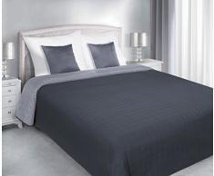 DecoKing 74572 Tagesdecke 220 x 240 cm stahl grau anthrazit silber Bettüberwurf Kreisen zweiseitig pflegeleicht Salice