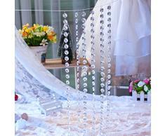 sunnymi 1 M Klar Diamant Acryl Crystal Perlen Vorhang DIY Für Hochzeit Dekor Festivals Veranstaltungen Wohnzimmer Kinder 3D Modern Spiegel Punkte Sterne (Klar)