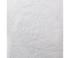 URBANARA Tagesdecke/Überwurf Arolla - 100% reine Baumwolle, Weiß mit Steppung in floralem Muster - 180 x 230 cm