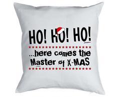 Kissen mit coolem weihnachtsmotiv - HO HO HO ..here comes the Master of X-Mas - Geschenk - Zierkissen für Couch und Bett