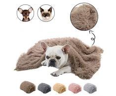 Dasior Haustier Hund Katze Flauschige Felldecke Schlafmatte Wendedecke Doppelschichtig waschbar für Hundebett, Couch, Sofa, Auto, L(39.5 x 29.5 inch), braun