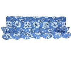 Polsterauflage Hollywoodschaukel 180x50 Modell 145 blau/grau/weiß Blumen