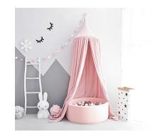 Wonder Space Prinzessin Baldachin, 240cm Bett Kuppel Betthimmel Moskitonetz aus Baumwolle, Insektenschutz Bettvorhang Zelt fürs Innen Schlafzimmer Dekoration Baby Kinder Kinderzimme, Rosa