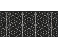 Flurläufer - Küchenläufer - schwarz - triangle silver - Universal Läufer - Küchenmatte - Läufer - Dekoläufer für Küche , Flur , Wohnzimmer und Bar - Der Hingucker in Ihrer Wohnung - Ihre Gäste werden staunen - waschbare