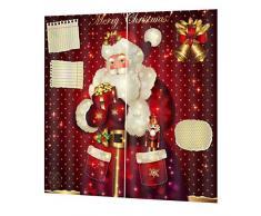 Weihnachts Gardinen Vorhänge, 3D Druck Santa Claus Muster Fenstervorhang, für Wohnzimmer Schlafzimmer zu Weihnachten, 155 * 166cm - Yves25Tate